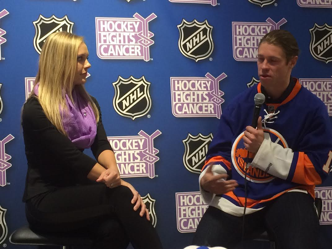 Jamie Hersch of NHL Network hosts a Q&A session with Islanders forward Matt Martin. (Photo by Jackie Daly - Double G Media)