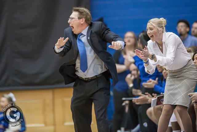 Seton Hall womens basketball head coach Tony Bozzella and assistant coach Lauren DeFalco. (Photo by John Jones - Double G Media)